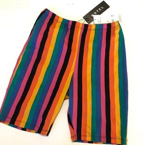 Motel Bike Shorts High Rise Striped Rainbow Small